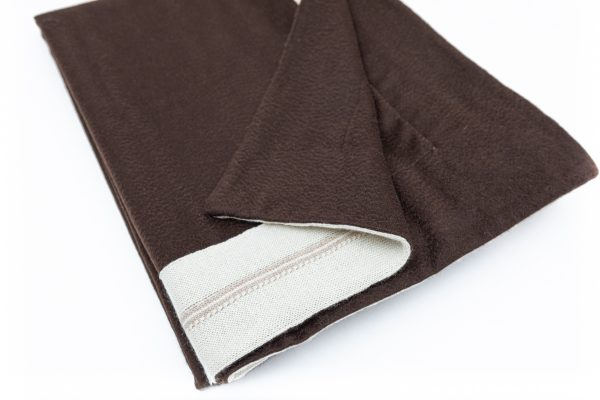 Cashmere Throw Color Chocolate with Knit Trim Ivory