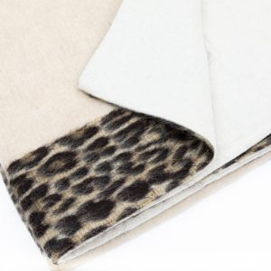 Natural Beige 100% Cashmere Throws with Alpaca Trim Animalier effect