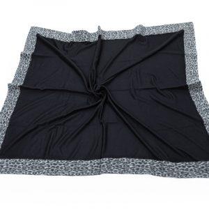 100% Cashmere Throw Black with Alpaca Trim Animalier effect