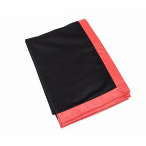 100% Cashmere Black with Red Leather Trim